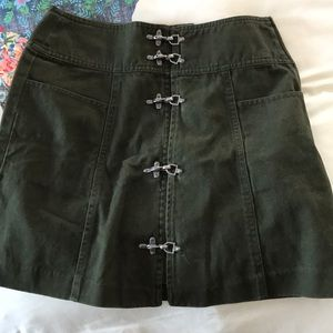 Nasty Gal army green skirt with clasps up front